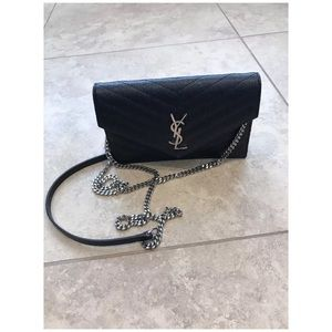 Handbags - YSL Calfskin Laerher Wallet On A chain AUTHENTIC